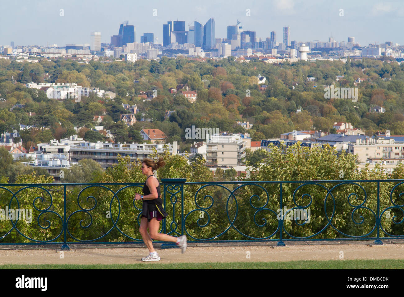 woman jogging on the great terrace of saint germain en laye created stock photo royalty free. Black Bedroom Furniture Sets. Home Design Ideas