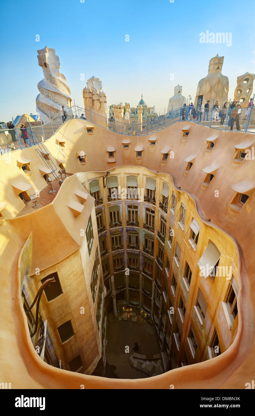 Roof terrace witch abstract chimneys of the Casa Mila or ... |Casa Mila Roof