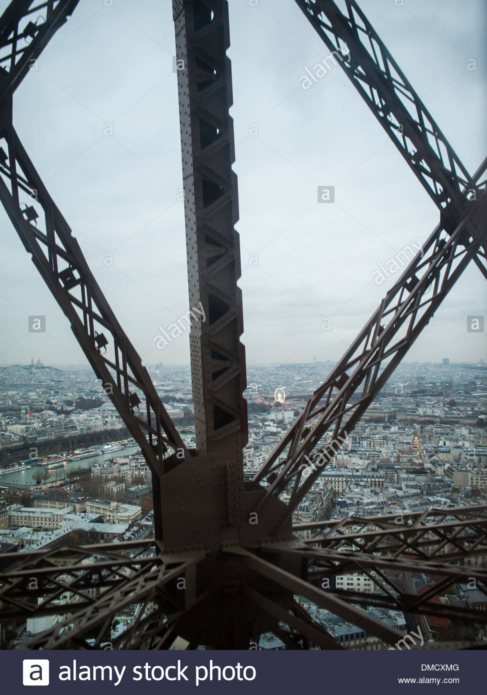 view of paris from inside the eiffel tower elevator stock. Black Bedroom Furniture Sets. Home Design Ideas