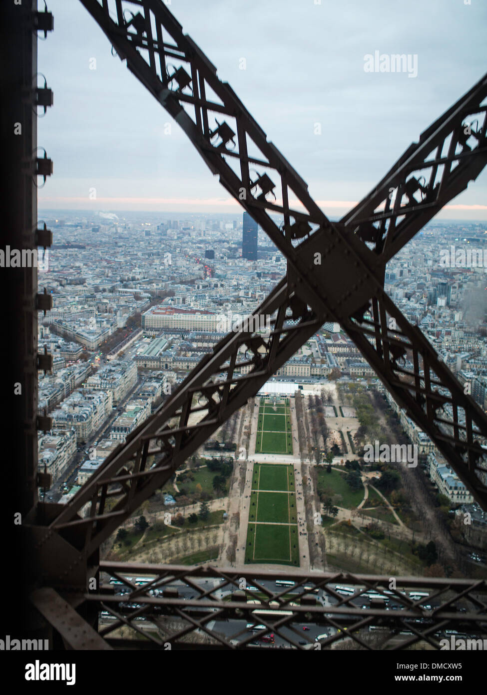 view to the champs de mars from the eiffel tower elevator. Black Bedroom Furniture Sets. Home Design Ideas