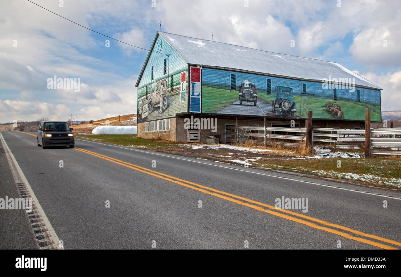 Murals On A Barn Along The Lincoln Highway Now US In Stock - Us 30 through pennsylvania map
