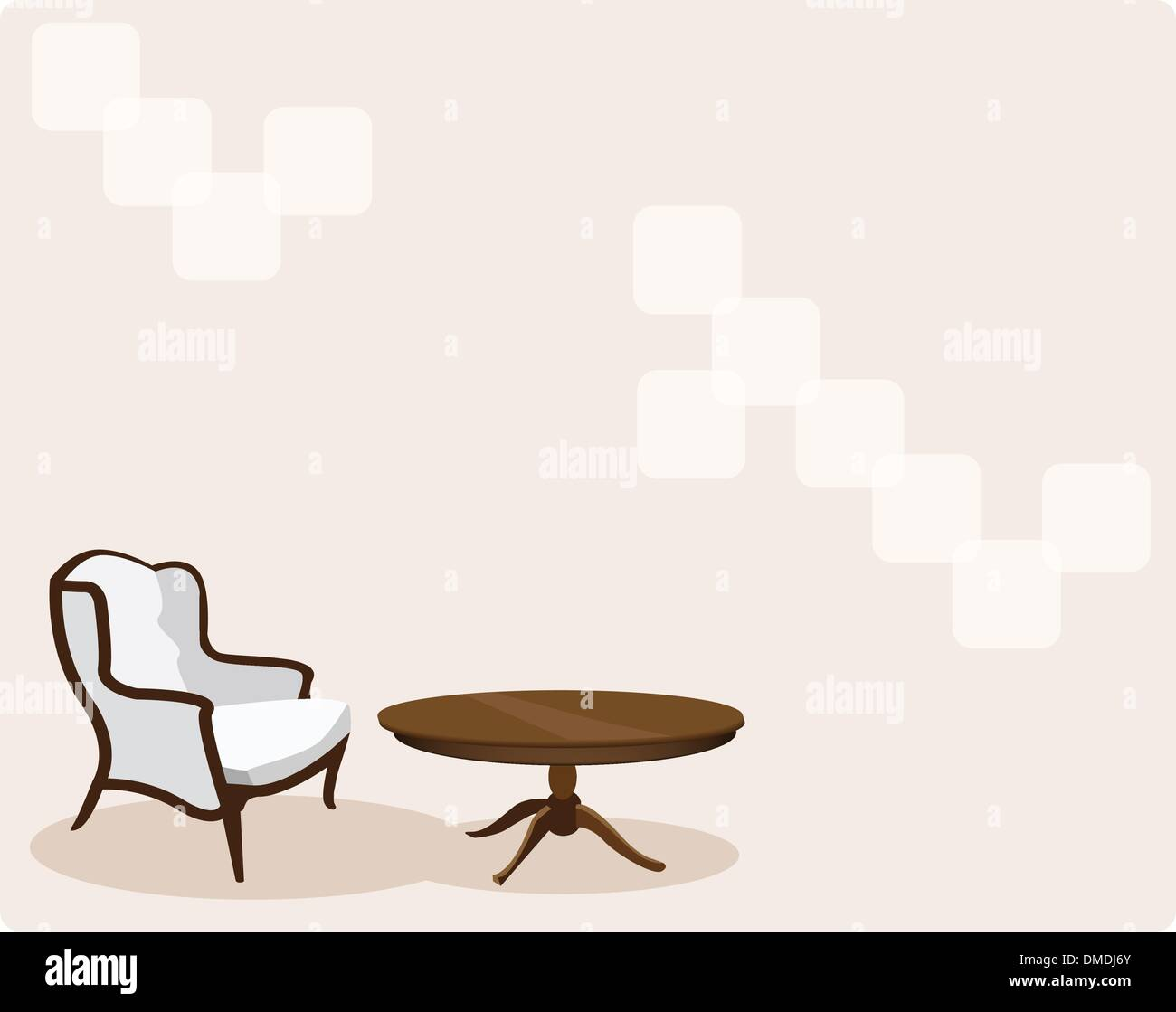 Antique Leather Armchair in Living Room Background Stock Vector Art ...