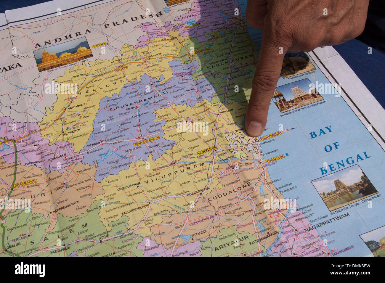 TOURIST GUIDE POINTING TO THE CITY OF PONDICHERRY ON A MAP OF THE - Pondicherry map