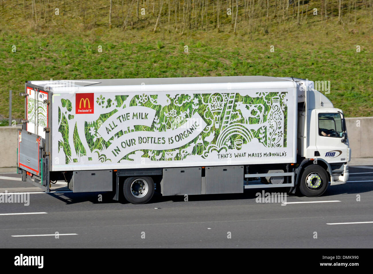 Mercedes European Delivery >> McDonalds delivery lorry with advertising for their organic milk in Stock Photo, Royalty Free ...