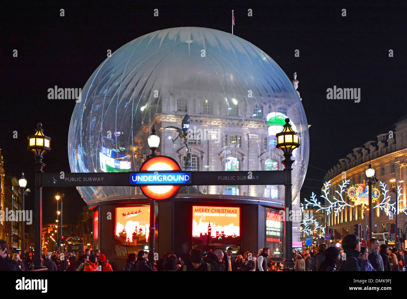 Piccadilly Circus with Eros statue inside a large snow globe ...