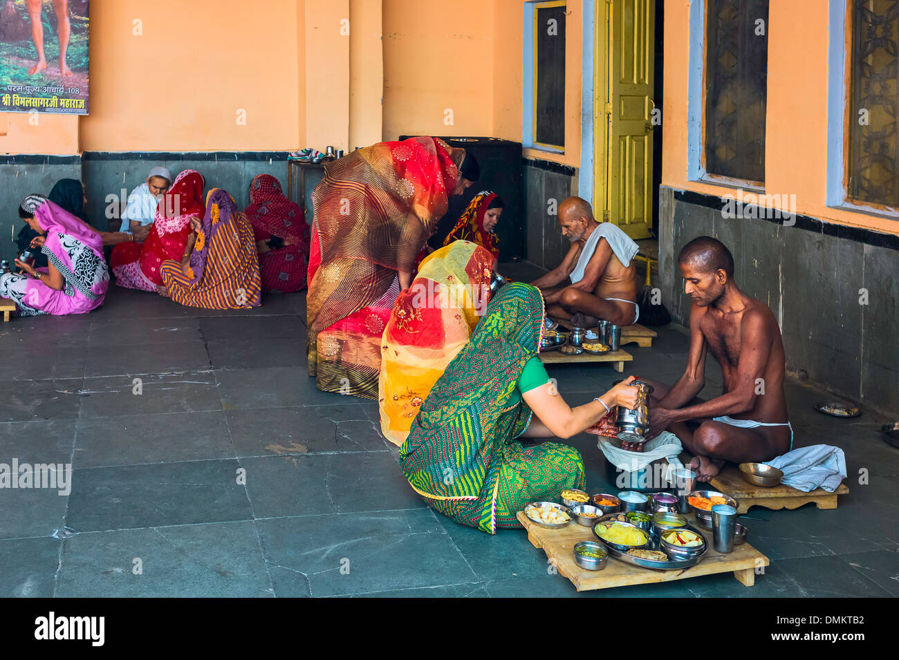 Jain Digambara monks being fed as part of a religious ...