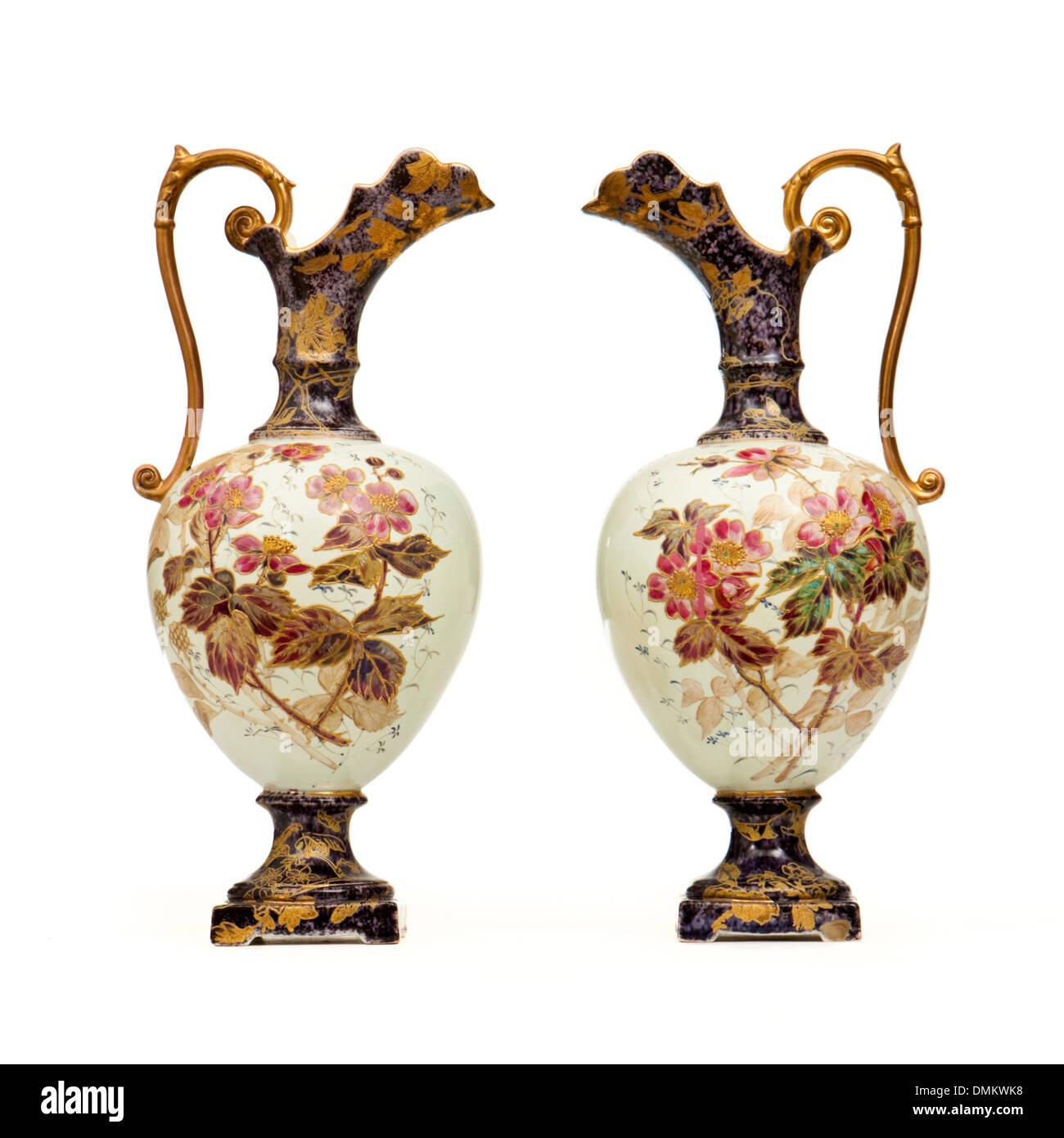 Pair of antique handpainted jugs vases by the rubian art pottery pair of antique handpainted jugs vases by the rubian art pottery subsidiary of grimwades reviewsmspy