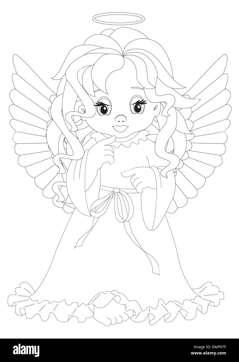 little angel coloring page stock vector art u0026 illustration vector