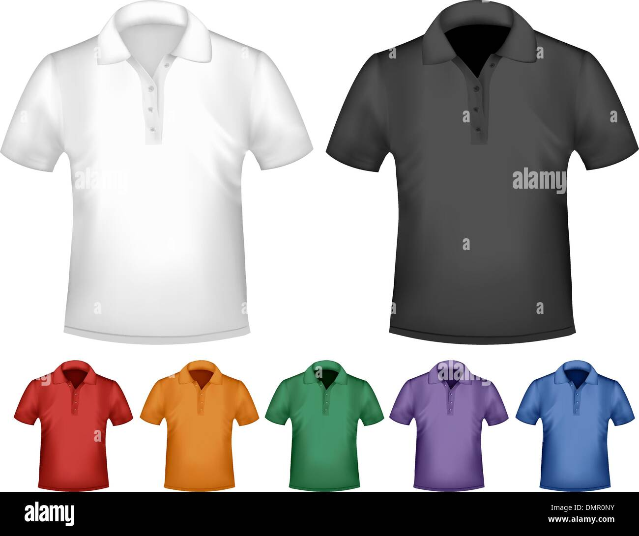 Black and white and color men polo t-shirts. Design template. Ve ...