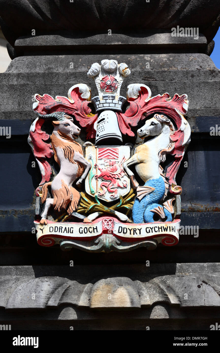 City of cardiff coat of arms carved in stone on pillar outside city of cardiff coat of arms carved in stone on pillar outside city hall cardiff south glamorgan wales united kingdom buycottarizona
