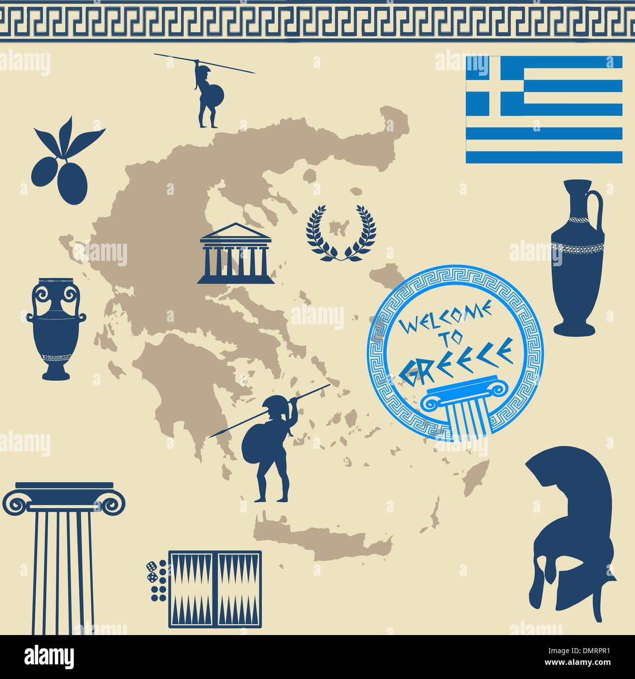 Greek symbols on the greece map stock vector art illustration greek symbols on the greece map buycottarizona