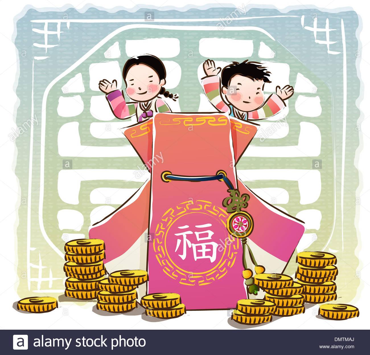 Greetings new year korean dress girl boy couple stock photo greetings new year korean dress girl boy couple m4hsunfo Images