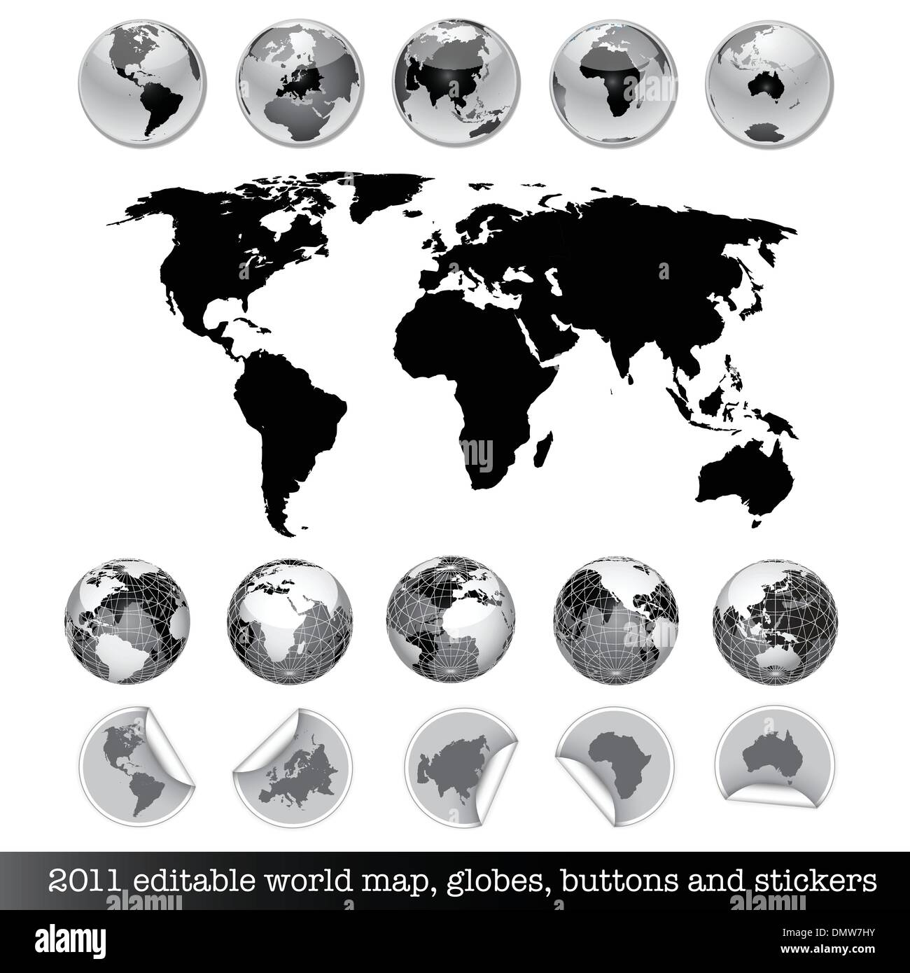 Editable world map earth globes buttons and stickers stock vector editable world map earth globes buttons and stickers gumiabroncs Images
