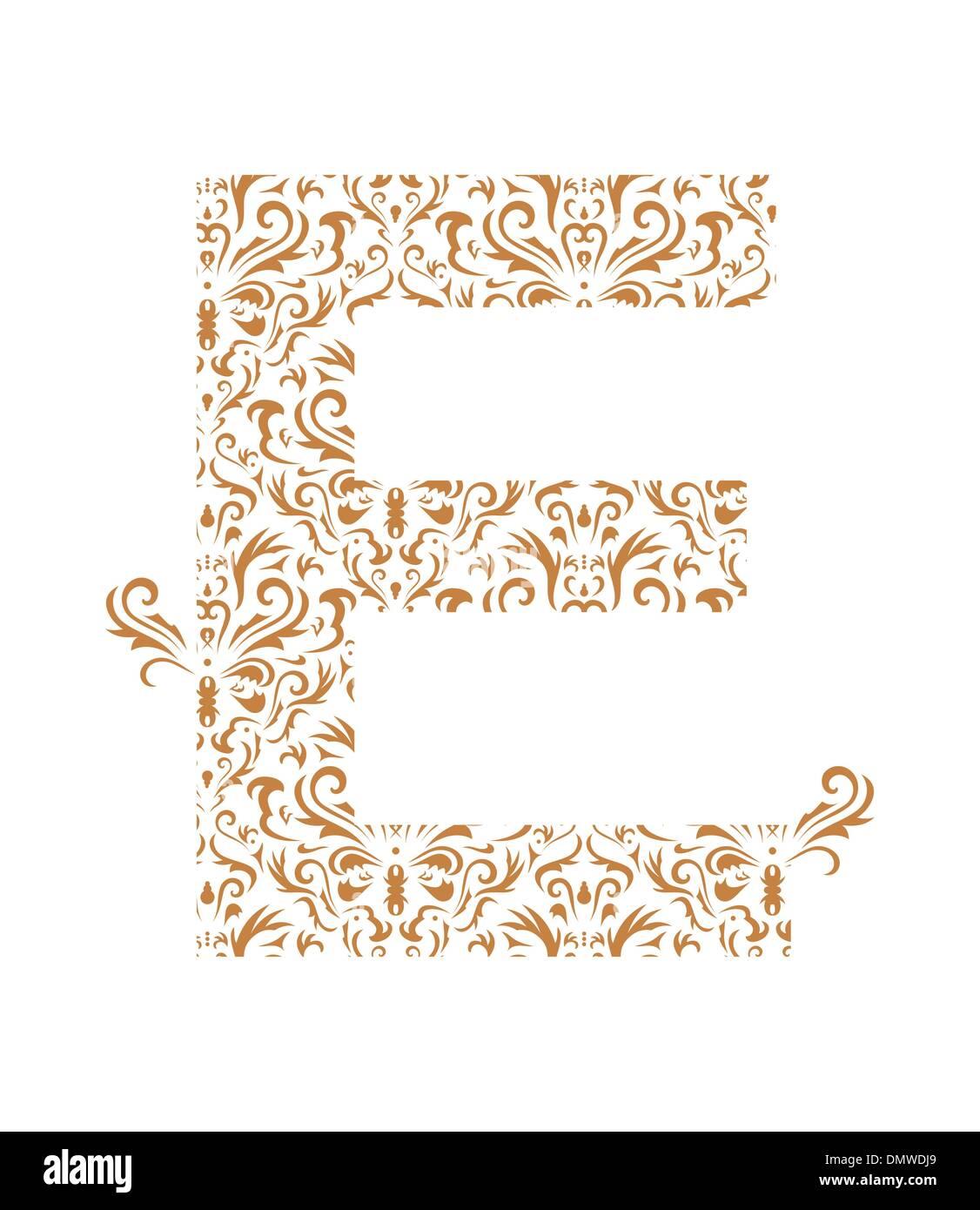 floral letter e ornament font