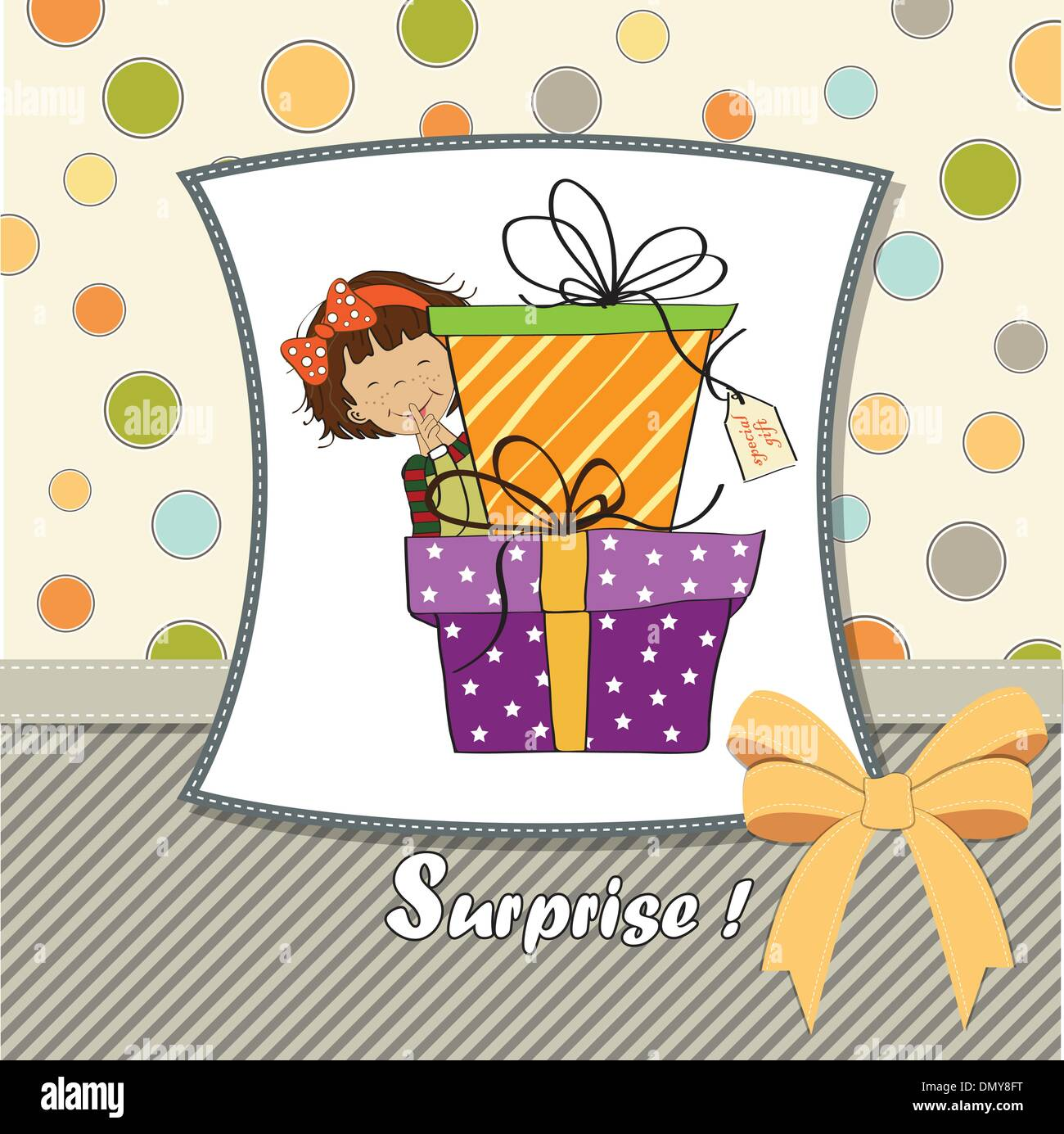 Cute little girl hidden behind boxes of gifts happy birthday cute little girl hidden behind boxes of gifts happy birthday greeting card kristyandbryce Image collections