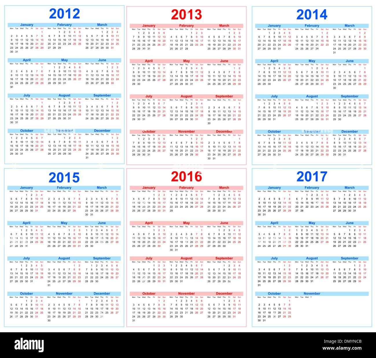 calendar 2013-2017 red, blue, vector Stock Vector Art ...