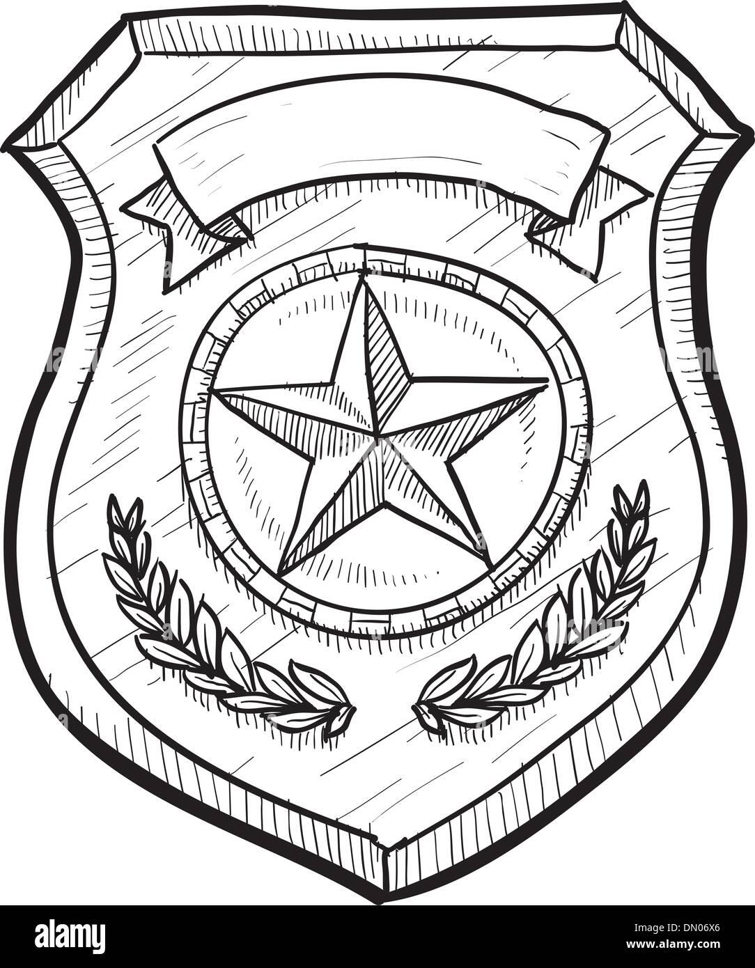 police or firefighter badge sketch stock vector art u0026 illustration