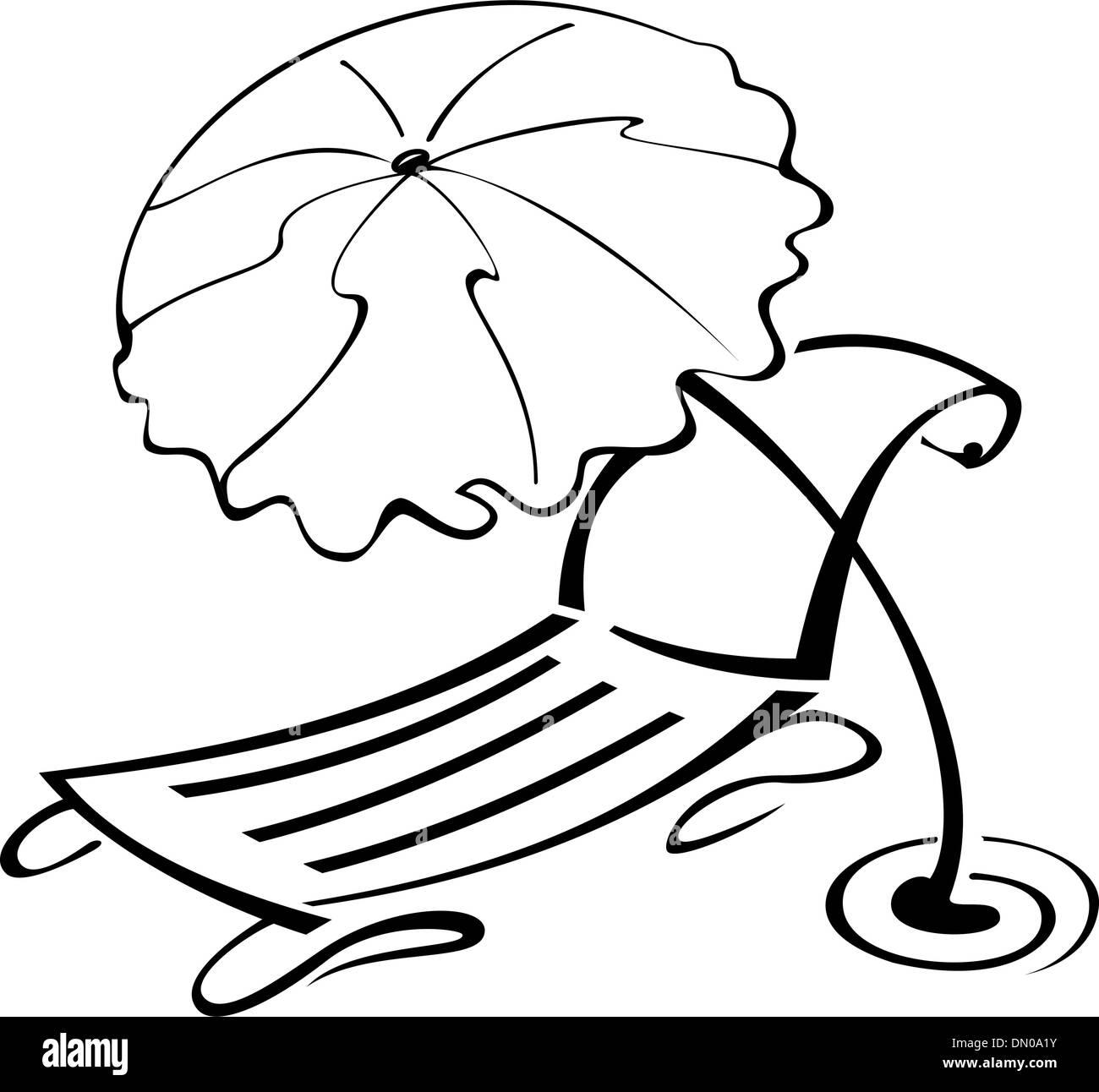Beach chair and umbrella black and white - Black And White Contour Umbrella And Beach Chair Stock Vector