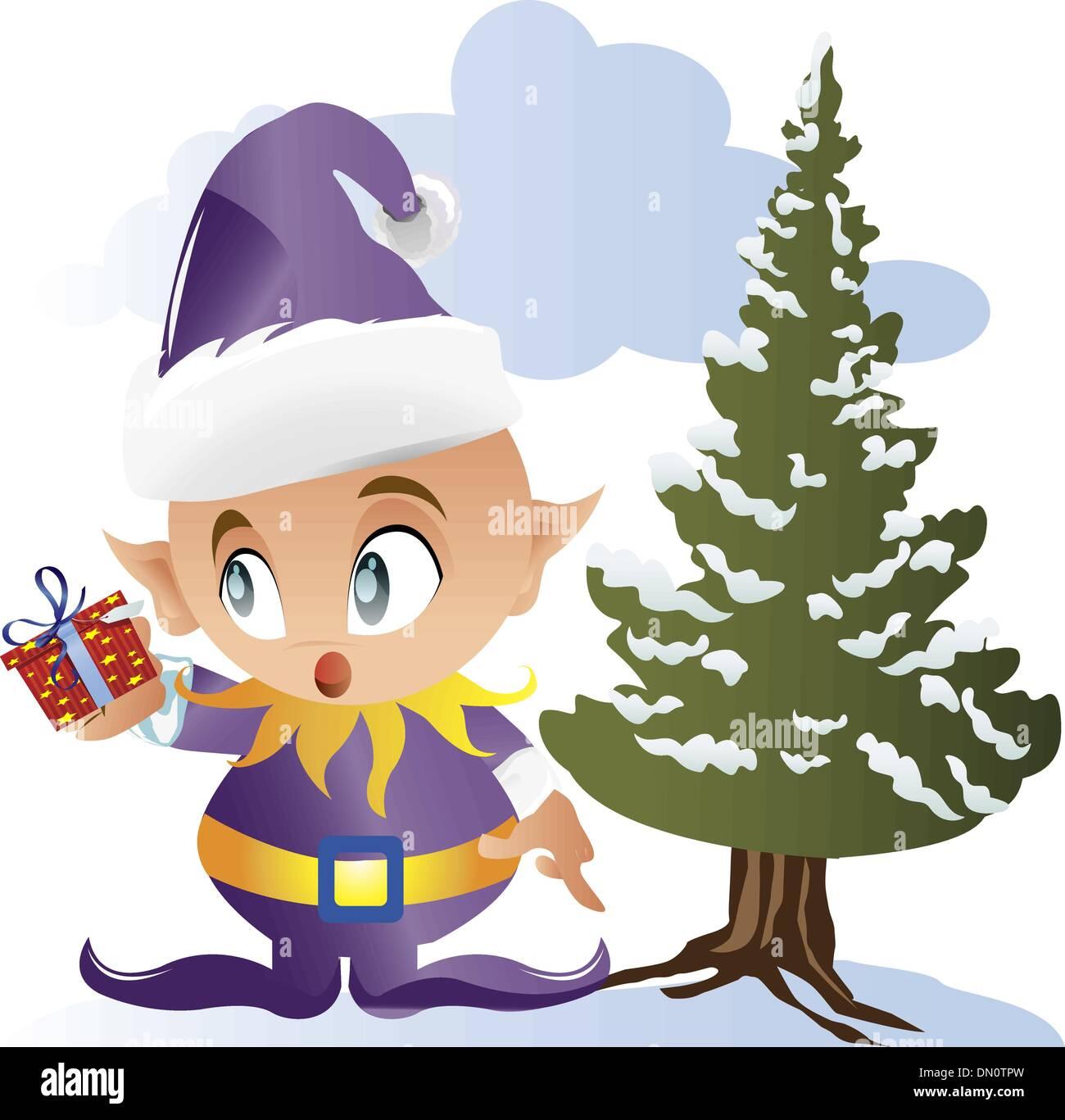santa elf holding gift vector stock vector art u0026 illustration