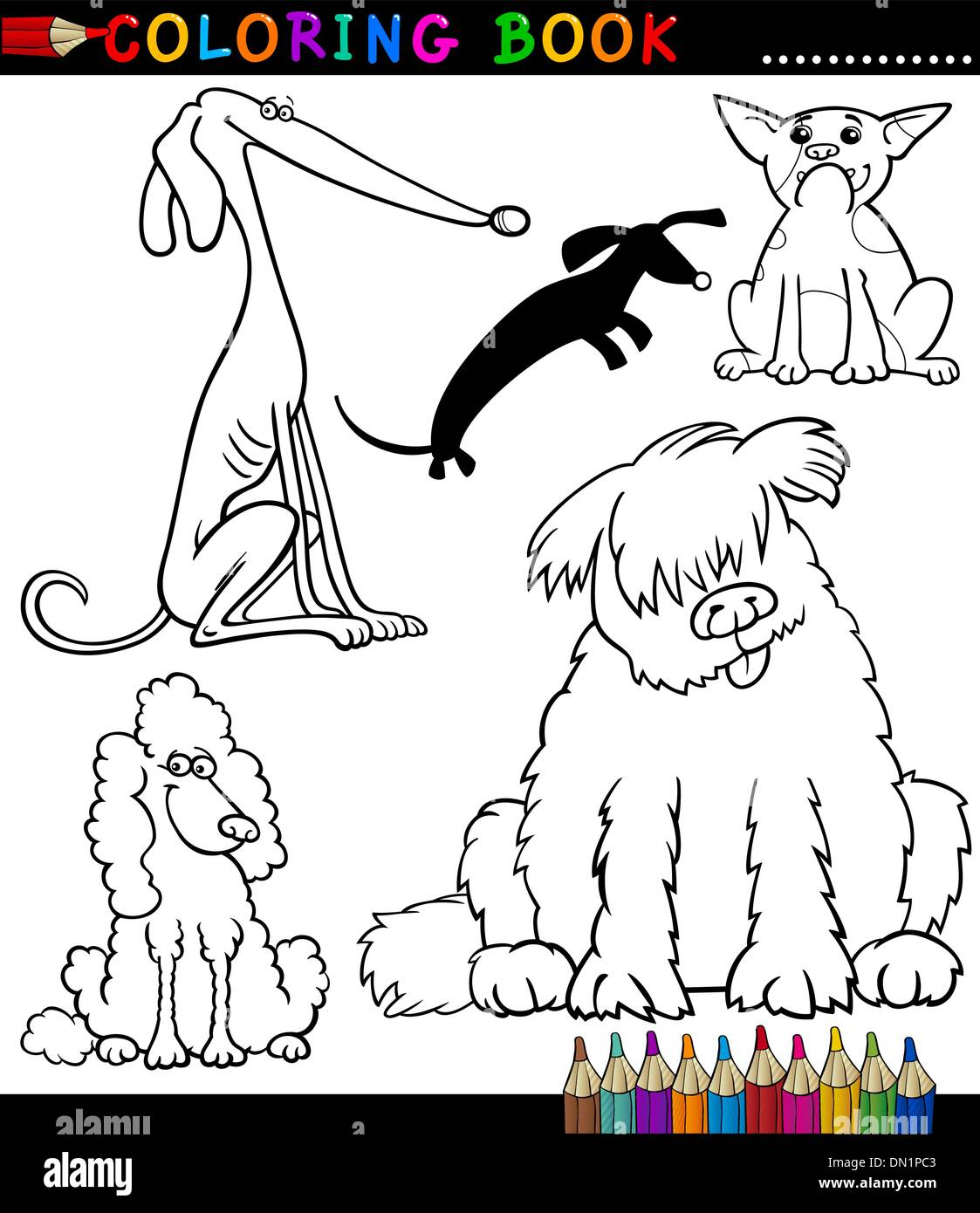 Cartoon Dogs or Puppies for Coloring Book Stock Vector Art ...