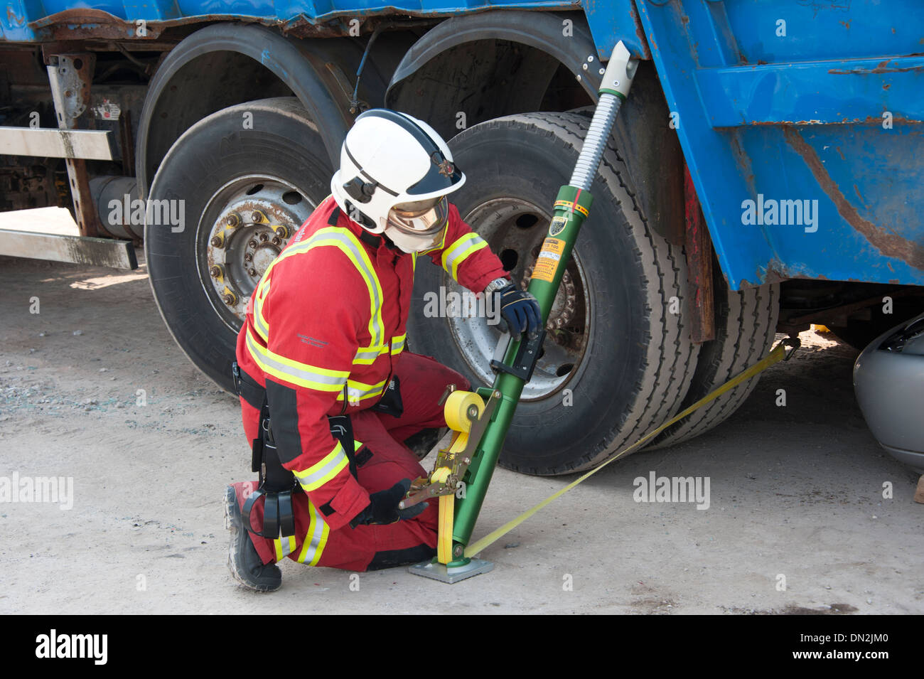 Firefighter stabilisting HGV Lorry in crash SIMULATION Stock Photo ...