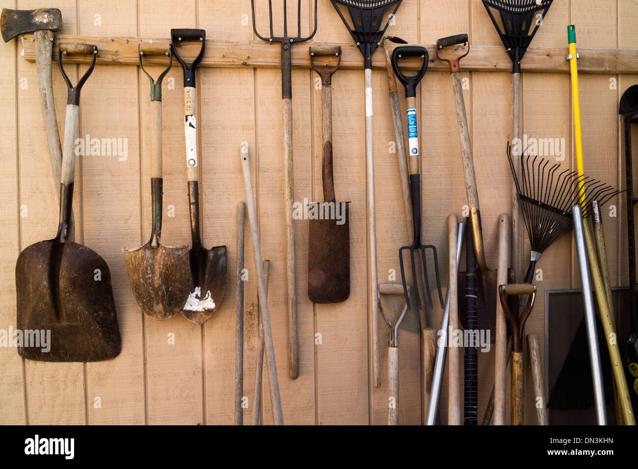 How to hang tools in shed tools hanging on a shed wall for Gardening tools wikipedia