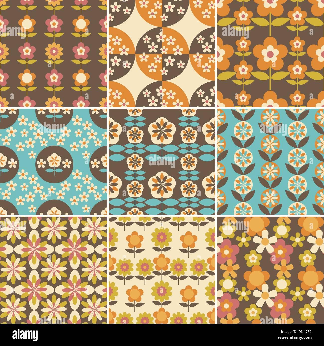 Design 70s Design set of 70s seamless patterns design stock vector art design