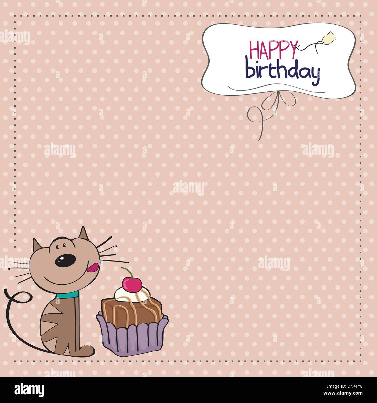 Birthday greeting card with a cat waiting to eat a cake stock vector birthday greeting card with a cat waiting to eat a cake kristyandbryce Gallery