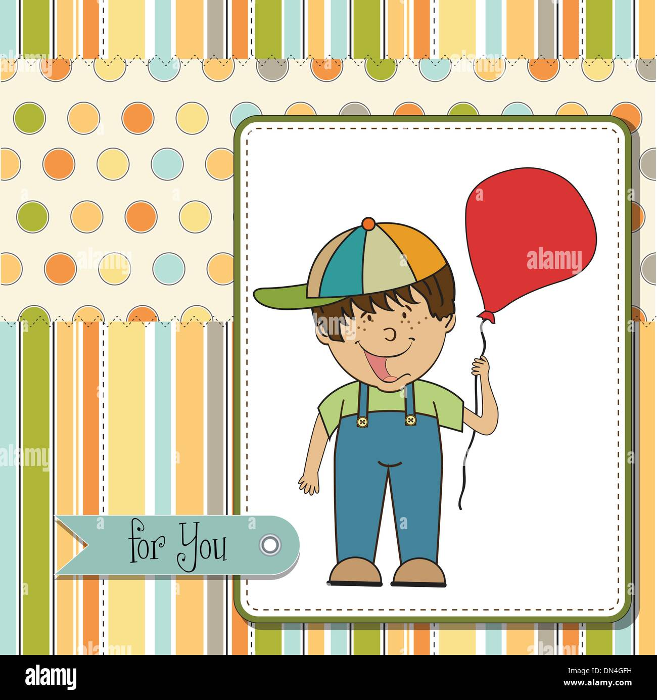 Birthday greeting card with little boy stock vector art birthday greeting card with little boy kristyandbryce Choice Image