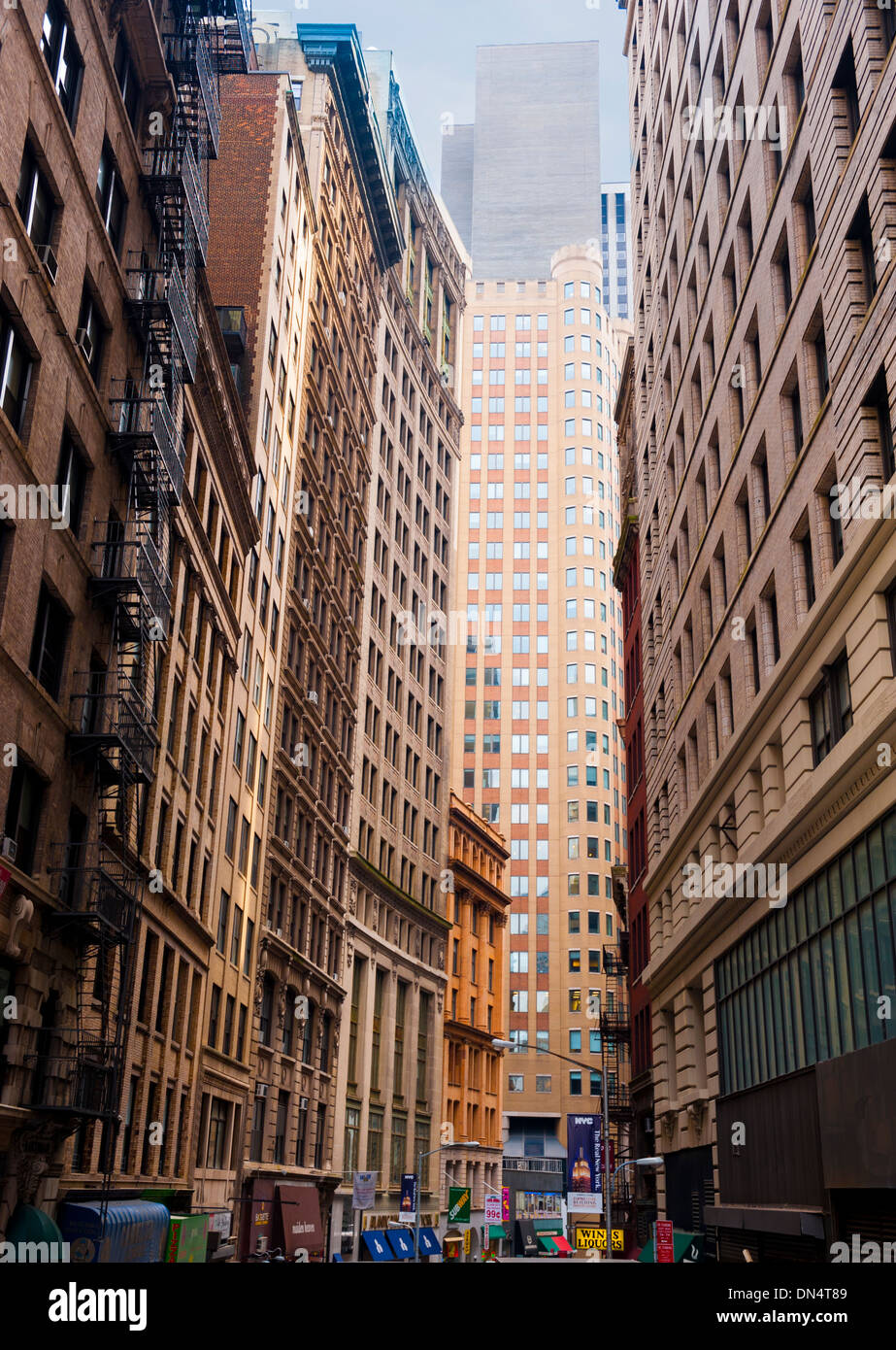 Wall Street business district in New York City Stock Photo ...