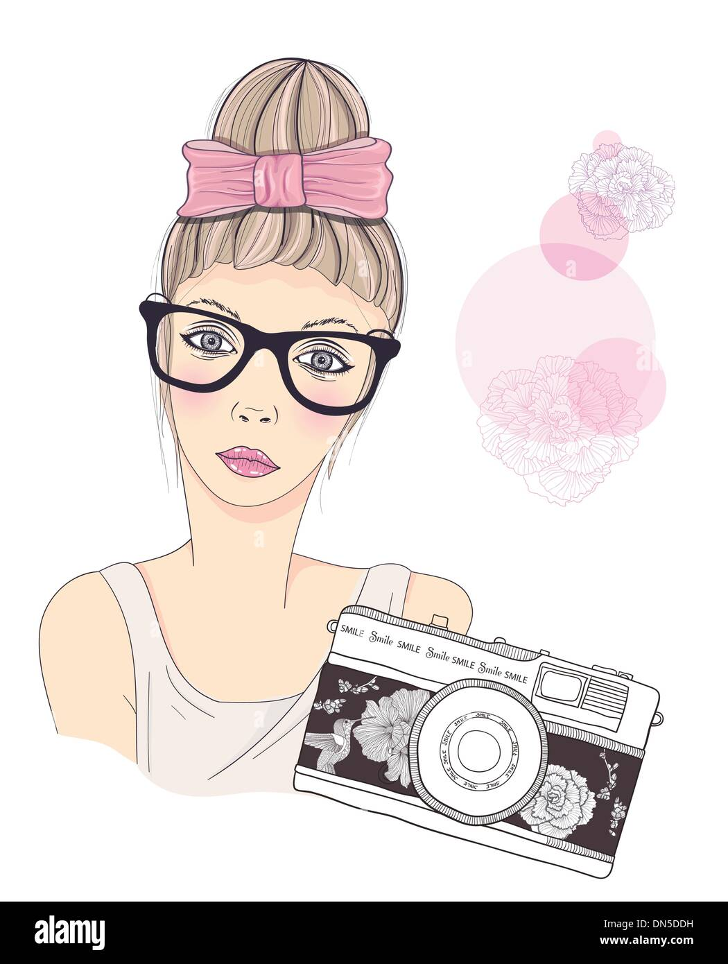 Fashion Girl Photographer Vector Background Young Female Retro Camera Vintage Photo Flowers And Birds Pattern