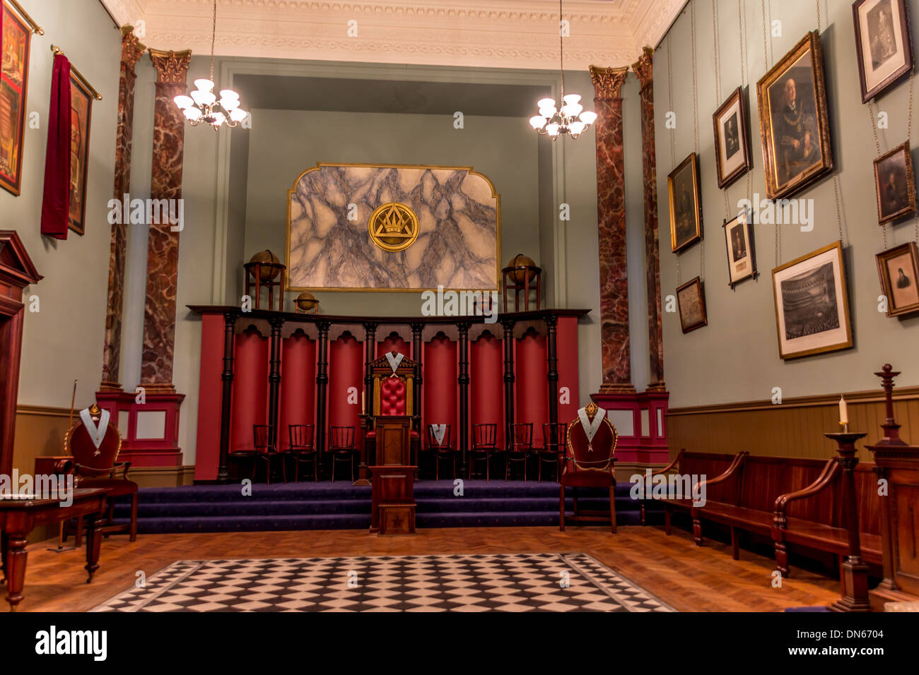 Inside the main hall at the masonic lodge in beamish stock photo inside the main hall at the masonic lodge in beamish sciox Images