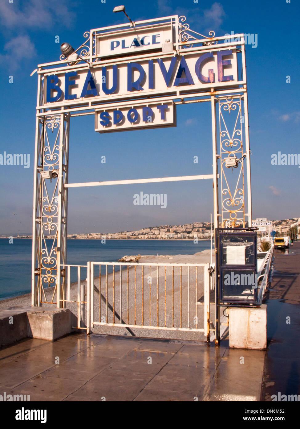 Art deco entrance gate to beach - Nice, France Stock Photo ...