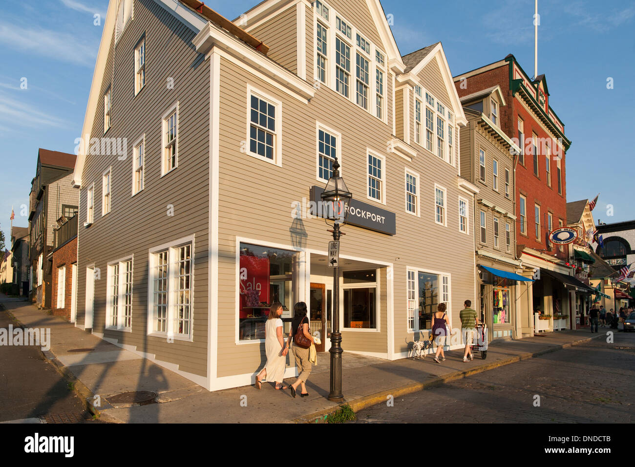 A Rockport shoe store on the corner of lower Thames Street in the New  England sailing town of Newport Rhode Island