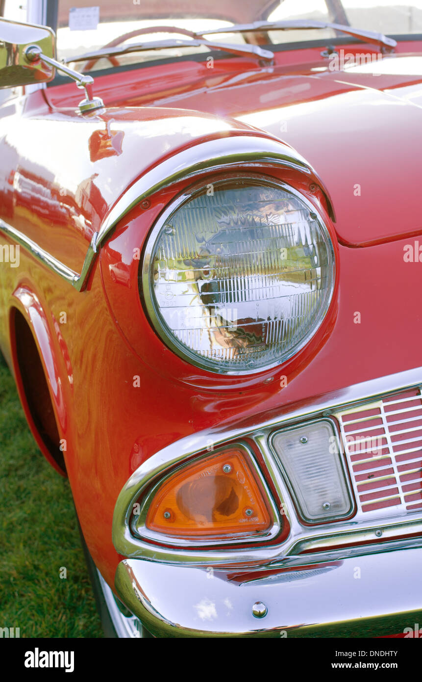Close up view photo of Ford Anglia headlight a UK classic CAR Stock ...