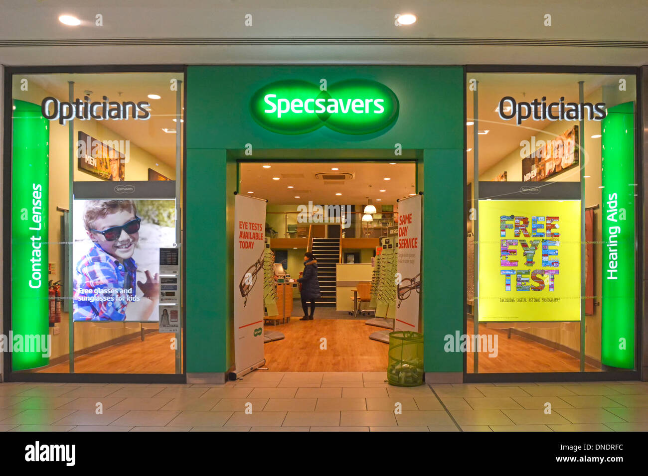 specsavers opticians shop front in shopping mall stock photo specsavers opticians shop front in shopping mall