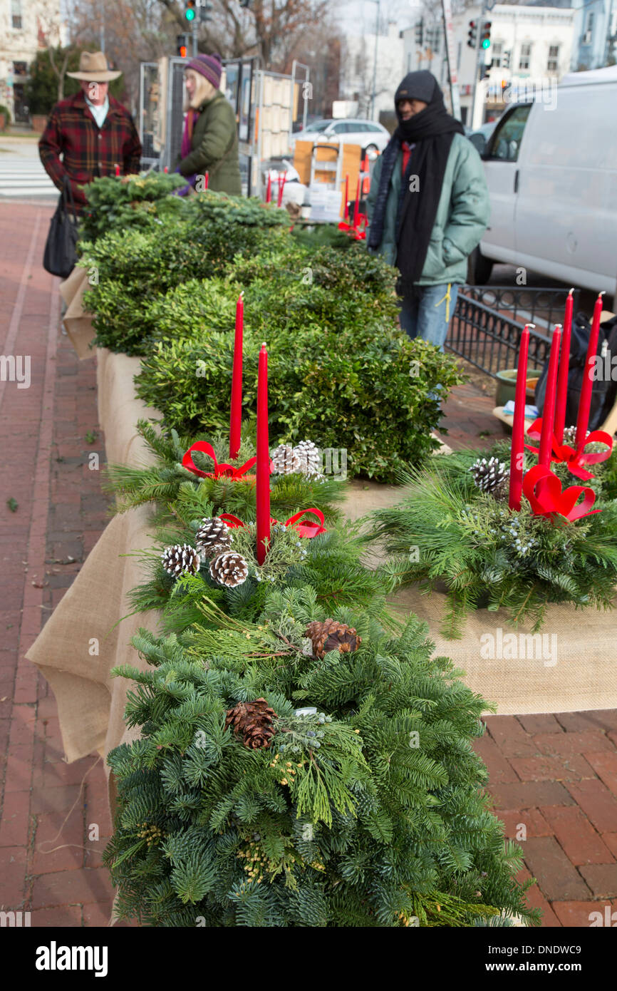 Washington, DC - Christmas greenery for sale at the historic ...