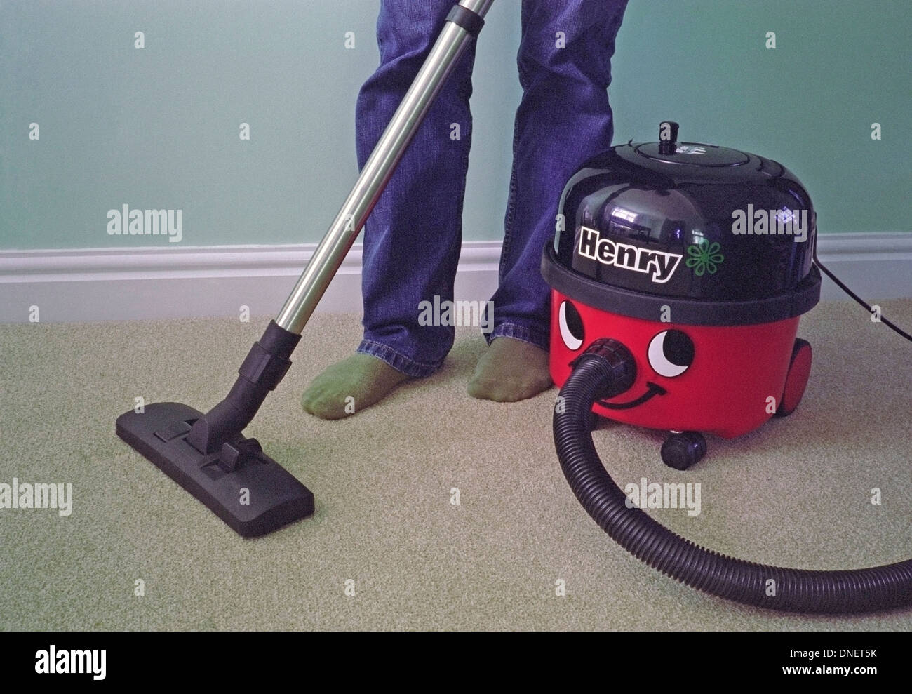 Caucasian Man Vacuuming A Carpet With Henry Vacuum Cleaner MODEL RELEASED