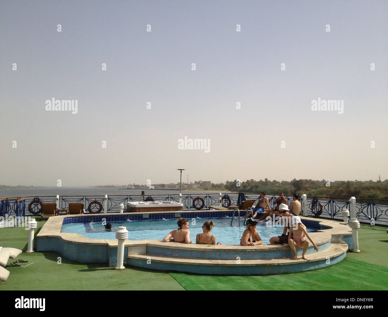 Tourists In Swimming Pool On Deck Nile River Cruise Egypt Between Stock Photo Royalty Free