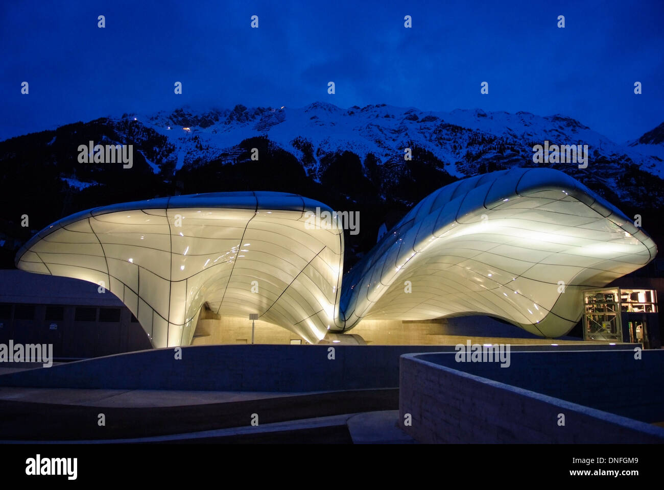 hungerburgbahn innsbruck bergstation zaha hadid moderne stock photo royalty free image. Black Bedroom Furniture Sets. Home Design Ideas