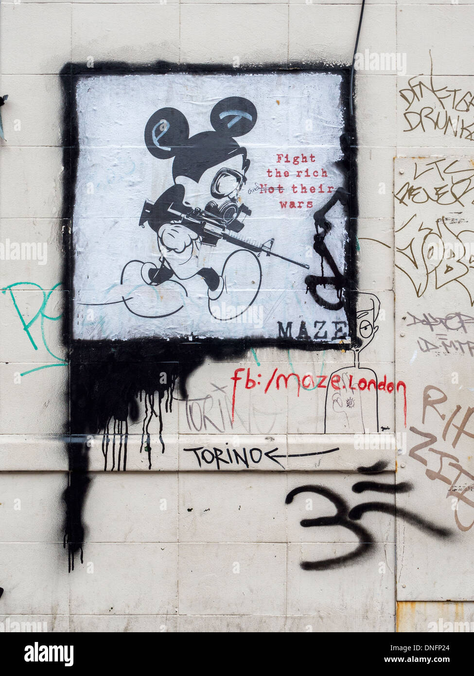 poster street art mickey mouse with gun and 39 fight the rich not stock photo royalty free. Black Bedroom Furniture Sets. Home Design Ideas