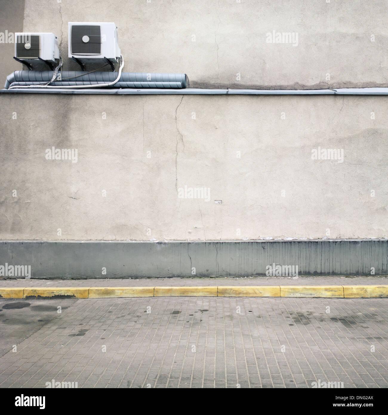 Urban background. Empty street wall Stock Photo, Royalty ...