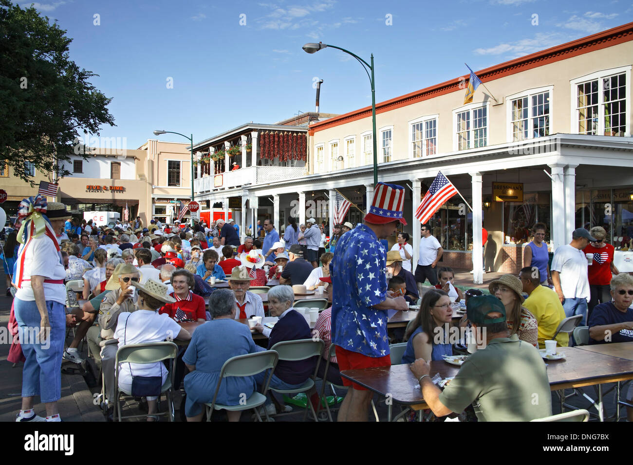 crowds on the plaza pancakes on the plaza 4th of july celebration