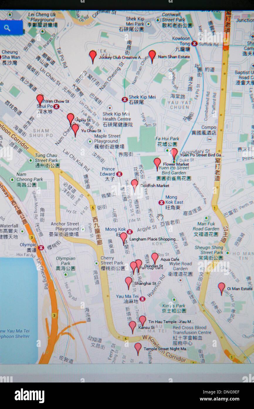 hong kong china kowloon google map red tags street computer monitor stock photo royalty free. Black Bedroom Furniture Sets. Home Design Ideas