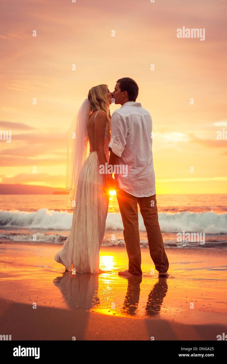 Hawaii Beach Sunset Couple at sunset  Hawaii Beach