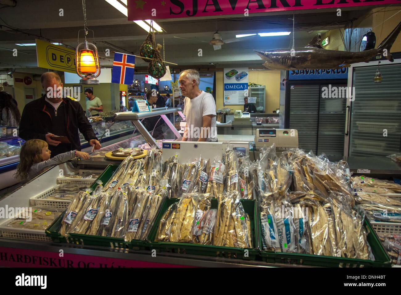 Seller of stock fish called hardfiskur kolaportid flea for Fish market reykjavik
