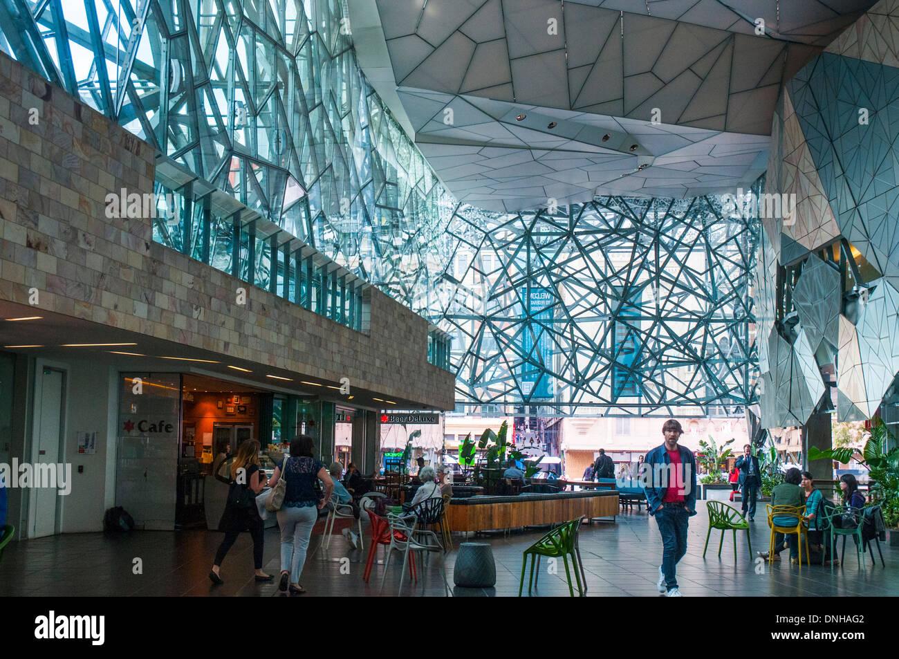 Inside the Atrium of the Federation Square complex ...
