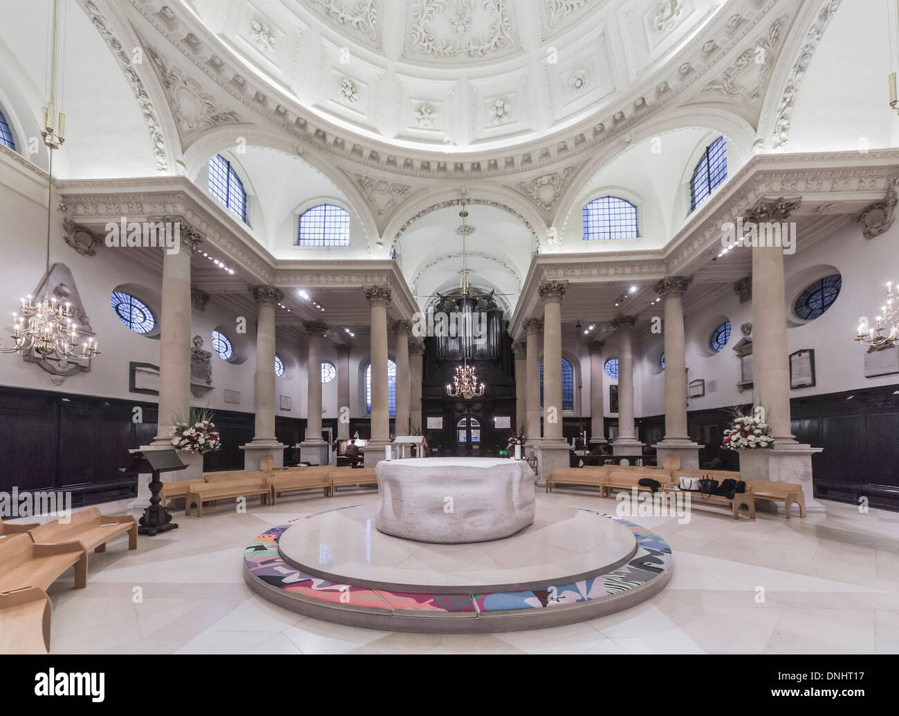 Stock Photo   The Church Of St Stephen Walbrook In The City Of London, EC4,  With Dome By Sir Christoper Wren And Altar By Henry Moore, Associated With  Chad ... Gallery