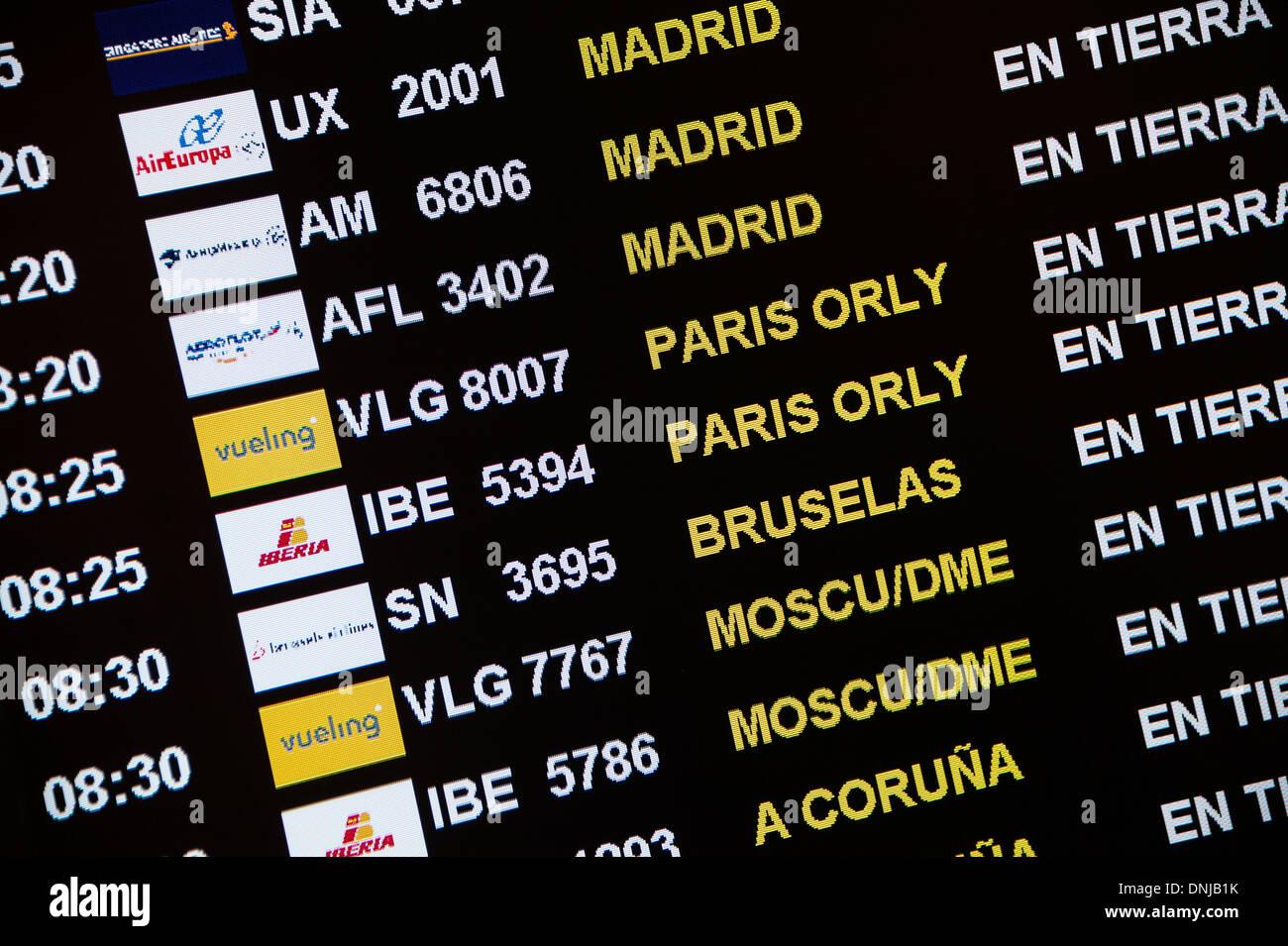 Flight status jfk - Flight Status Display In Airport Terminal Barcelona Spain Stock Image