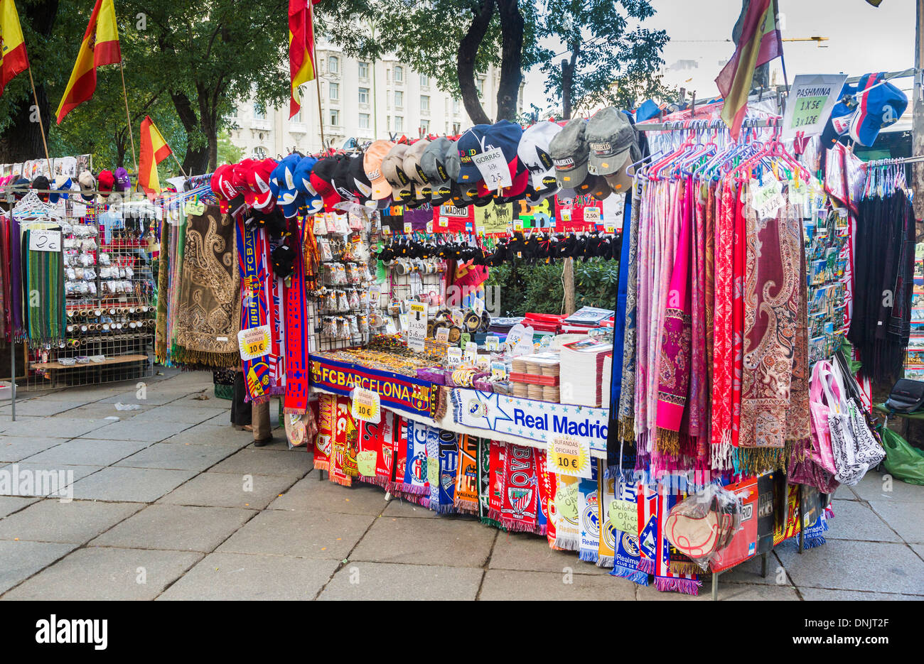 souvenir stall in madrid spain selling pashminas baseball caps and stock photo royalty free. Black Bedroom Furniture Sets. Home Design Ideas